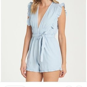 Billabong Women  Sunny Garden Chambray Romper Sz S